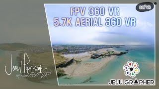 The sea on a cloudy day. FPV 5.7k aerial 360 VR. 함덕 해변에서 담은 항공 360 VR