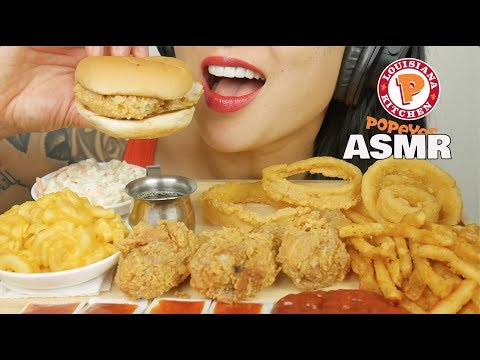 ASMR CRUNCHY POPEYES CHICKEN + MAC & CHEESE + ONION RINGS (EATING SOUNDS) | SAS-ASMR