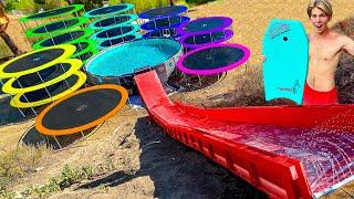 Backyard Trampoline Staircase WATER PARK! *SLIP N FLY WATER SLIDE*