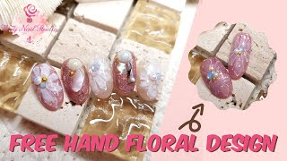 Wxy Nail Studio | Simple Free Hand Floral Design | Simple Japanese Nail Art | Japanese Nail Design