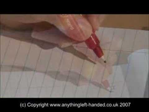 Screenshot of video: Left handed wriiting