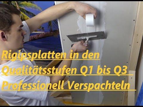 So geht's  Rigipsplatten verspachteln in den Qualitätsstufen Q1 - Q3 (Anleitung für Anfänger.)
