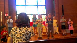 Kids singing at church today for Pentecostal Sunday
