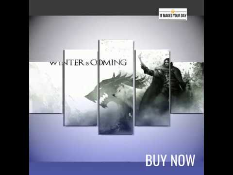 5 Piece Game Of Thrones Stark Movie Canvas Wall Art Paintings