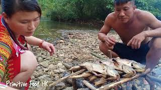 Skill catching fish - Skill  fishing big many on the river and Cooking fish - Eating delicious