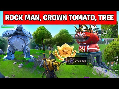 Fortnite Giant Rock Man Crowned Tomato Encircled Tree Search Between Location In Week 5 Daily Star