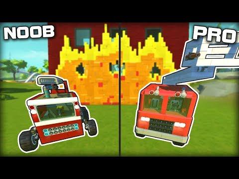 NOOB vs PRO Firefighting with a Spudgun... (Scrap Mechanic Gameplay)