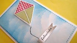Cómo hacer una tarjeta con cometa de papel. Tutorial. MUY FÁCIL.