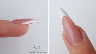 Sculpting Pointy Almond With Gel. French Almond Nails, French Nails, French Manicure Tutorial, Gel
