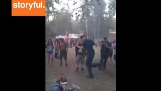 Michigan Cop Plays Hopscotch At Electric Forest Festival (Storyful, Crazy)
