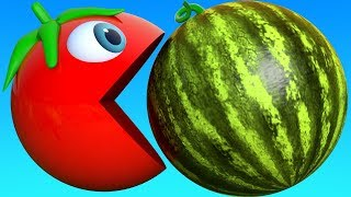 Learn Colors with PACMAN and Farm Bunny Mold Watermelon Tomato Street Vehicle for Kid