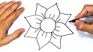 How To Draw A Flower Step By Step   Easy Drawings
