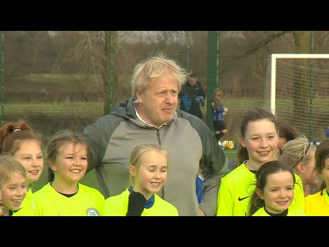 Boris Johnson gets in goal as part of his trip to north east England