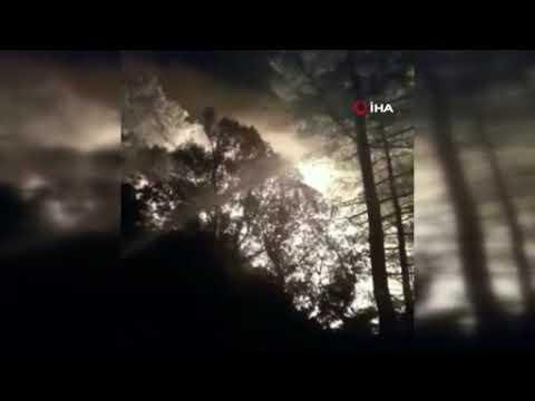 Konyaaltı Üçüoluk'ta düşen yıldırım yangın çıkardı