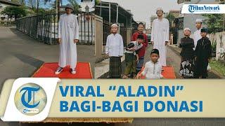 Viral Pemuda dengan Karpet Terbang Aladin Bagi-bagi Donasi di Bandung