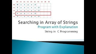 113 - Searching in Array of Strings   String in C Programming