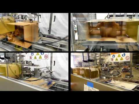 Formadora de cajas HCE con Hot Melt formando 5 tamaños de cajas diferentes a una velocidad de 31 cpm