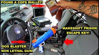 Searching a Decommissioned K9 Unit Police Car! Found Prisoner Escape Key! Cops wallet! Lights Siren!