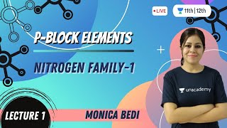 CBSE Class 12: P-Block Elements-L1 | Nitrogen Family-1 | Unacademy Class 11 & 12 | Monica Bedi - MONICA