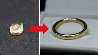 MAKING A GOLD RING FROM GOLD INGOTBULLION (sandcasting)