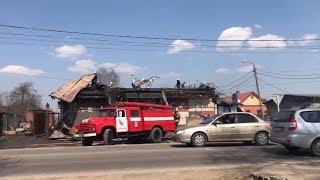 Алексинцы сняли на видео последствия пожара в кафе