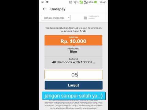 Transaksi menggunakan Codapay dengan Pulsa Indosat