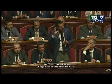 L&#39intervento di Matteo Salvini in Senato: &#39Rilancio, amici del M5S tagliamo 345 parlamentari e ...