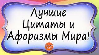 Лучшие Цитаты и Афоризмы Мира! Всё Про Жизнь!