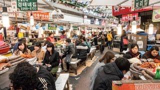 Korean street food at Gwangjang Market in Seoul, South Korea