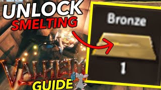 VALHEIM How To Unlock The Smelter Forge And Craft Bronze Age Tools And Weapons! Swords!