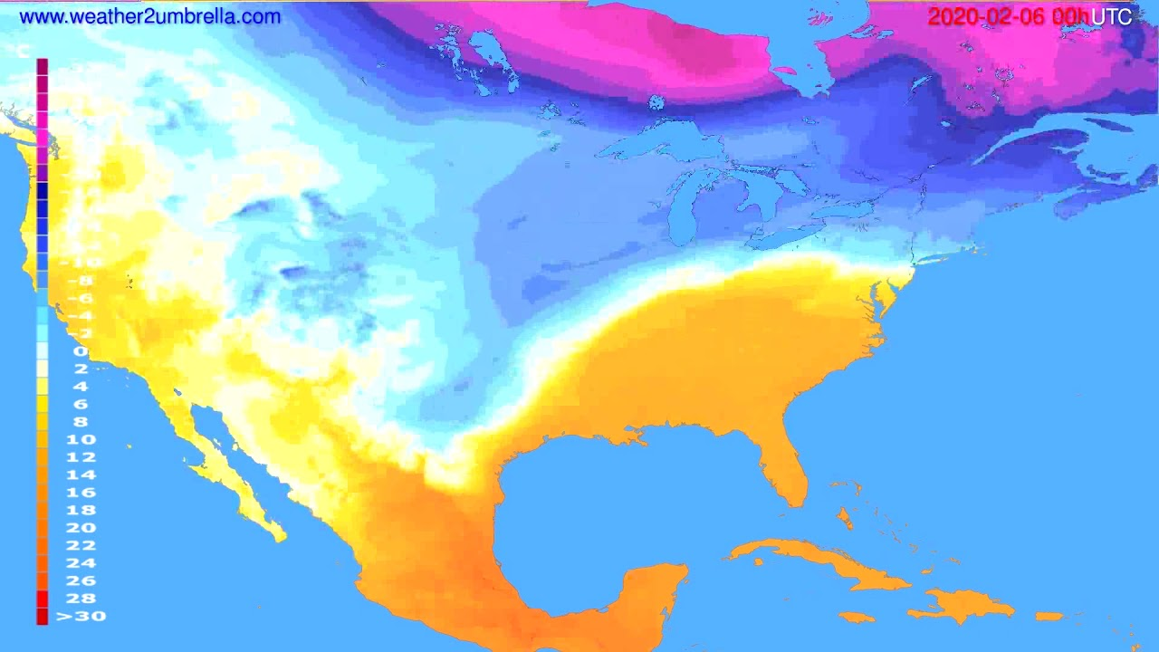 Temperature forecast USA & Canada // modelrun: 00h UTC 2020-02-05