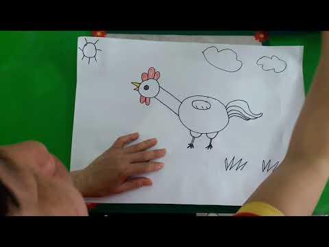 Cô giáo Phạm Thị Dịu -GV lớp 5 tuổi trường MN Phú Châu thực hiên hoạt động tạo hình dạy trẻ: Vẽ con gà trống