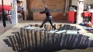 Graffiti trampantojo 3D en el suelo