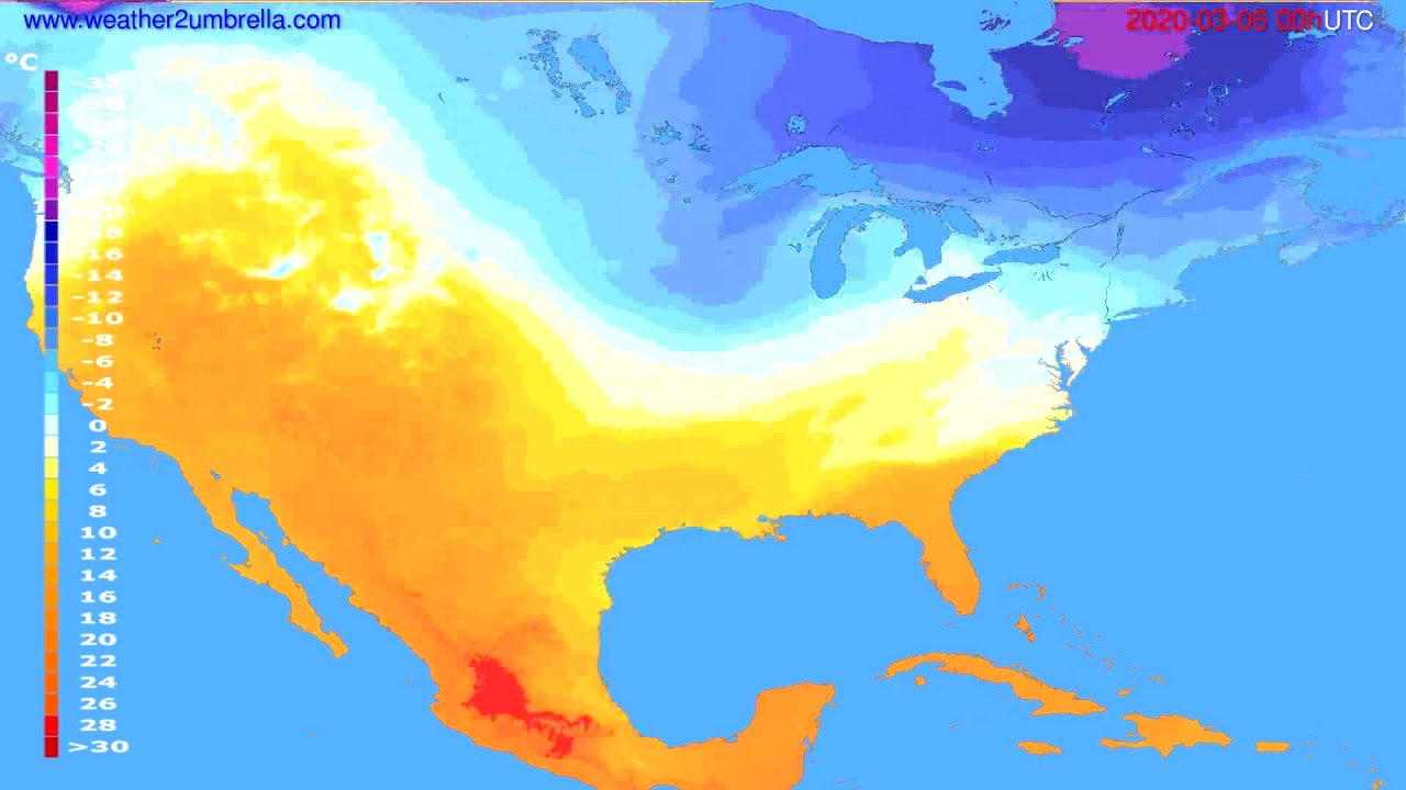 Temperature forecast USA & Canada // modelrun: 00h UTC 2020-03-05