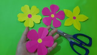 Five petal paper flower cutting / How to make paper flower.