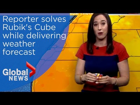 Meteorologist solves Rubik's cube during live report