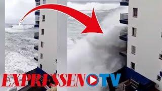 Teneriffa: Boende flyr från monstervågor