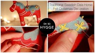 Traditional Swedish Dala Horse Felt Christmas Decoration