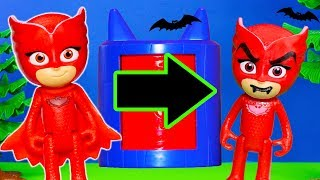 PJ MASKS Disney Spooky Monster Transforming Tower Costume Changer Catboy Owlette Gekko