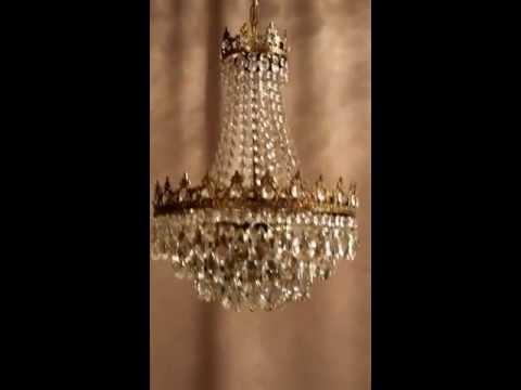 Antik Kristall Kronleuchter Chandelier Lampe Jugendstil Messing Luxus Empire Crystal