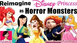 REIMAGINE DISNEY PRINCESS AS HORROR MONSTER | New Art Challenge | Draw, Color / Colour By Mei Yu