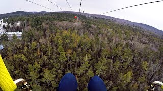 Riding the HighFlyer Zipline at Foxwoods