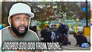 MrBeast - I Dropped $20,000 From A Drone REACTION!!!