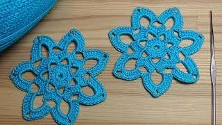 Вязание для начинающих - вязание крючком ажурного мотива - Crochet flower motif tutorial