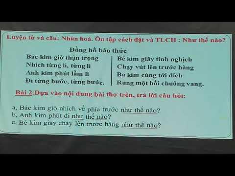 Bài giảng trực tuyến TV Cô Lang Thị Phương - khối 3