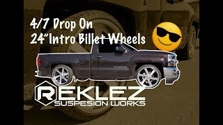 "Dropping Single Cab 4/7 on 24"" Intro Billet Wheels Drop Kit Installation"