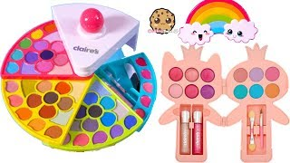 Cutest Beauty Makeup Ever ! Rainbow Claires Kids Eyeshadow Palette Lipgloss Haul