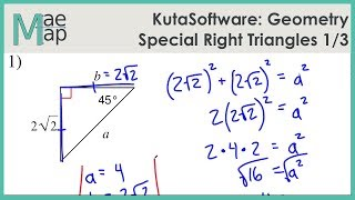 KutaSoftware: Geometry- Special Right Triangles Part 1