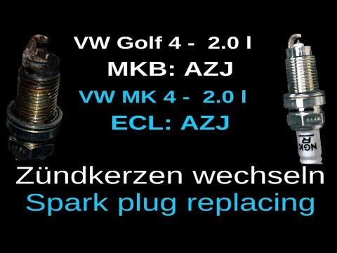 Golf 4 IV Jetta Mk4 Passat Bora Skoda Audi 2.0 AZJ Motor Zündkerzen wechseln Spark Plug replacement