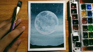 Easy Night Sky Watercolor Painting For Beginners | Step-by-Step Tutorial